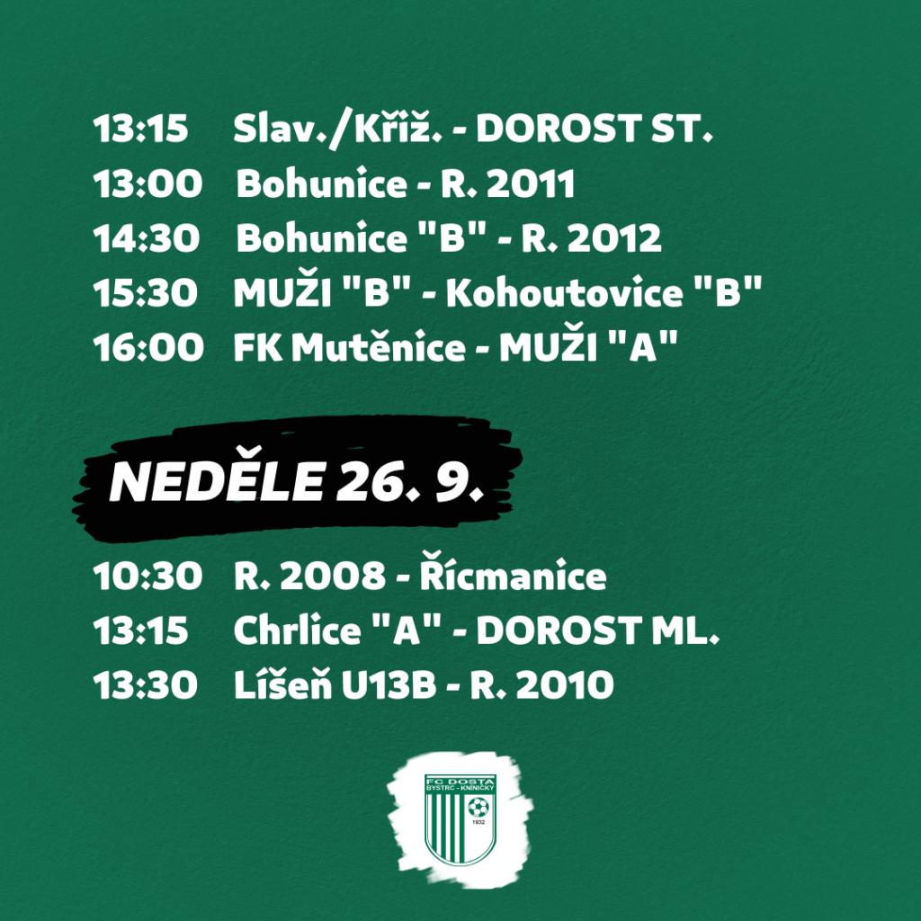 FC Dosta Bystrc - Kníničky Zápasový program na 24. 9. - 26. 9. Novinky