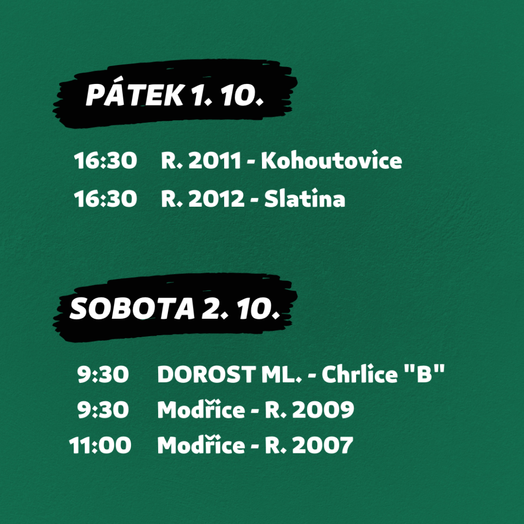 FC Dosta Bystrc - Kníničky Program 27. 9. - 3. 10. Novinky
