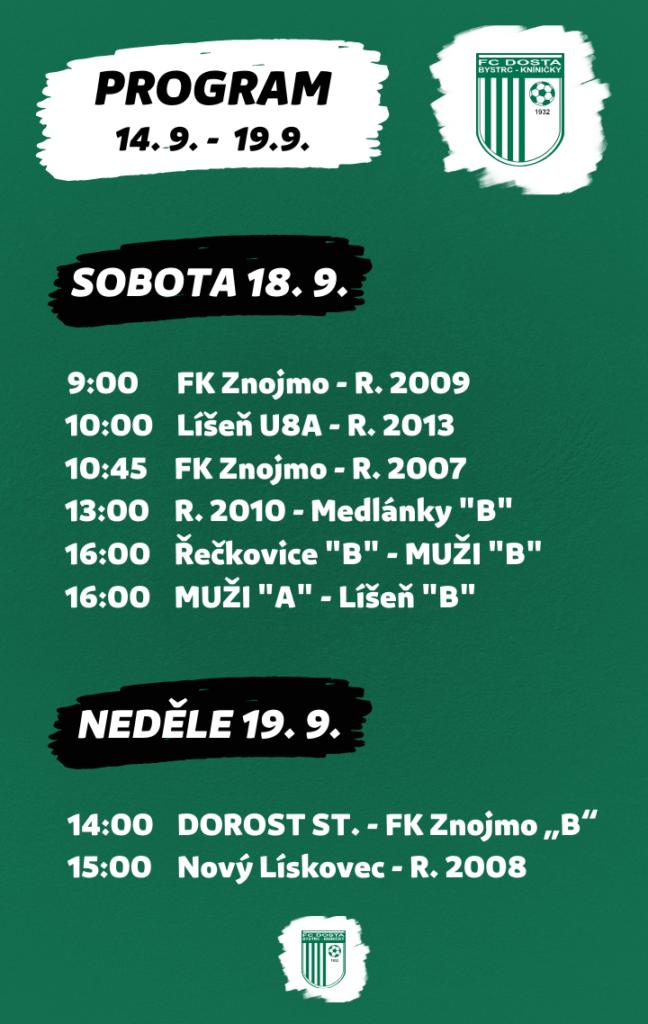 FC Dosta Bystrc - Kníničky Program na probíhající týden (14. 9. - 19. 9.) Novinky