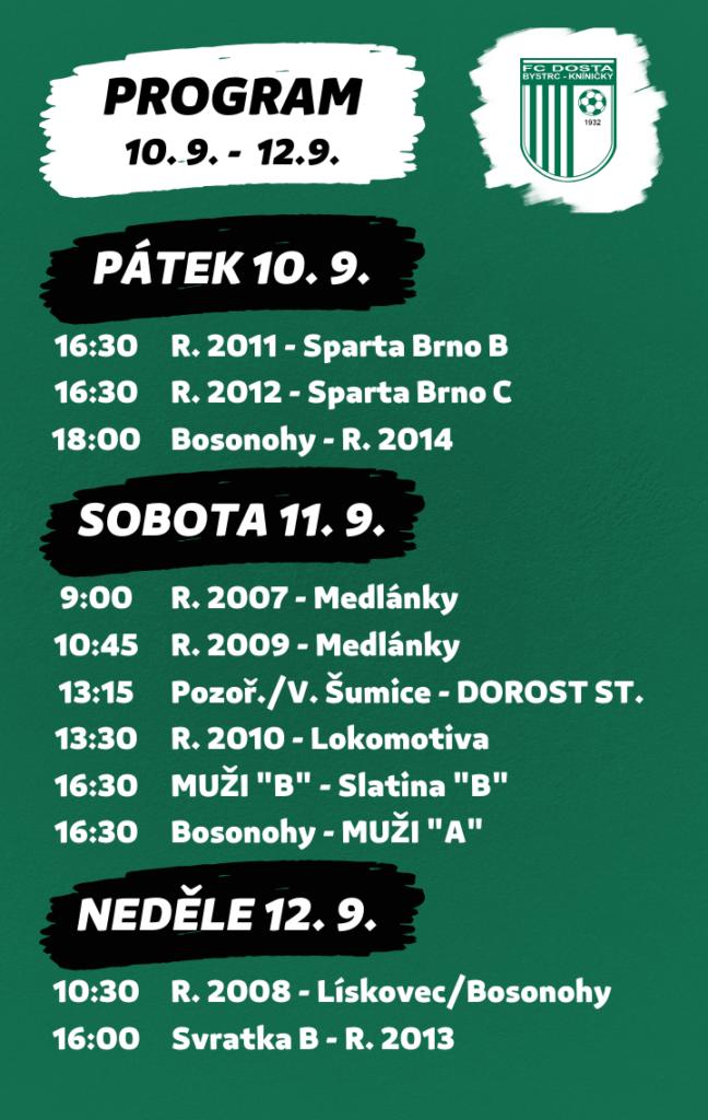 FC Dosta Bystrc - Kníničky V pátek startujeme třemi zápasy a celkově nás čeká 11 utkání Novinky