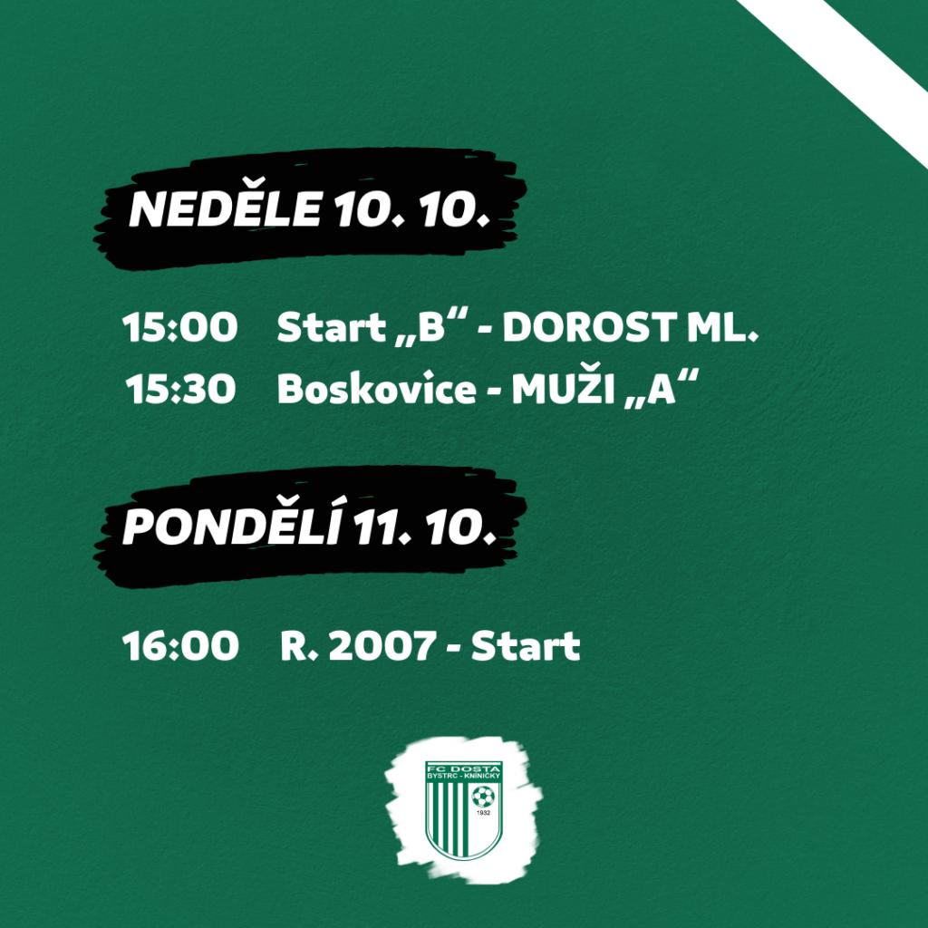FC Dosta Bystrc - Kníničky Program 7. 10. - 11. 10. Novinky