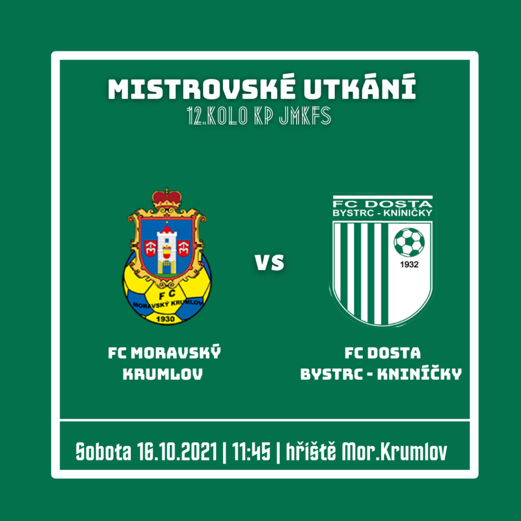 """FC Dosta Bystrc - Kníničky Pátým venkovním soupeřem je Moravský Krumlov! Muži """"A"""", Novinky"""